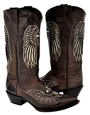 Women's Cross Wing Silver Gold Sequin Cowboy Boots Brown Leather 8.5 BM