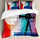 Ambesonne Cinema Queen Size Duvet Cover Set, Colorful Projector Silhouette with Movie Reel Vintage Design Entertainment Theme, Decorative 3 Piece Bedding Set with 2 Pillow Shams, Multicolor