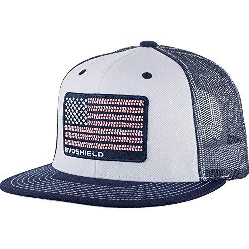 EvoShield Flag Patch Snapback Trucker Hat-White/Navy Mesh