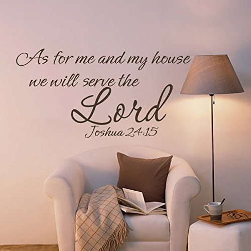 MairGwall Religious Quote Bible Verse -As For Me And My House-JOSHUA 24:15 Lord Wall Quotes Inspiraitonl Saying Teen Room Decal Home Living Room Decor (Medium,B