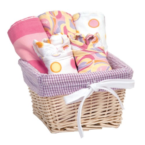 Trend Lab Dr. Seuss Bib and Burp Cloth Basket Gift Set, Pink Oh, The Places You'll Go!, 7 Piece