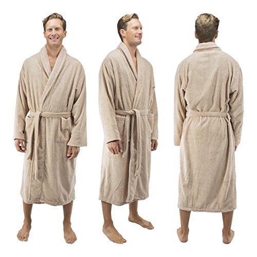 Comfy Robes Personalized Men's 16 oz. Turkish Terry Cotton Bathrobe, L/XL (OSFM) Tall Beige by Comfy Robes (Image #7)