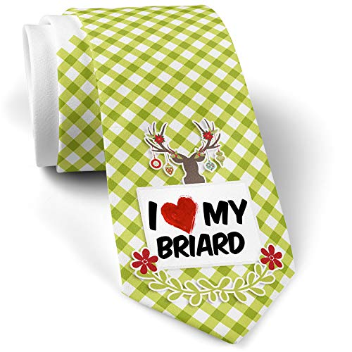 - Green Plaid Christmas Neck Tie I Love my Briard Dog from France gift for men