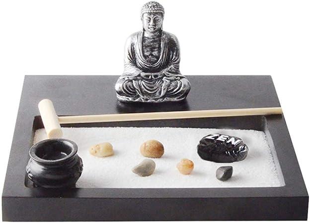 VOSAREA Jardín Zen Pequeña Caja de Arena de Escritorio Bandeja de Jardín Zen Arte DIY Paisaje Interior Estatuas de Buda Modelo de Meditación para Escritorio de Regalo de Oficina: Amazon.es: Hogar