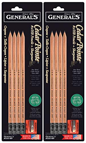 2-Pack Bundle - General Pencil Cedar Pointe #2/HB 4PK with Sharpener (Total of 8 Pencils Plus 2 sharpeners) ()