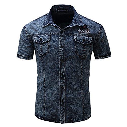 Short Sleeve Button Down Slim fit Denim Work Shirt (L, Dark Blue) ()