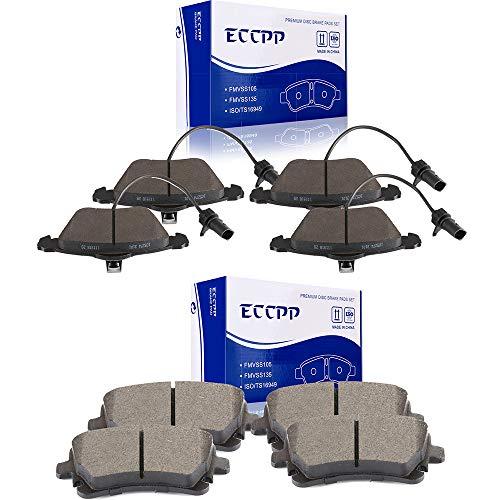 ECCPP Brake Pads, 8pcs Front Rear Ceramic Disc Brake Pads Kits fit for 2008-2009 Audi A4/A4 Quattro,2006-2008 2010 Audi A6,2005-2009 2011 Audi A6 Quattro,2004-2006 2008-2009 Audi S4