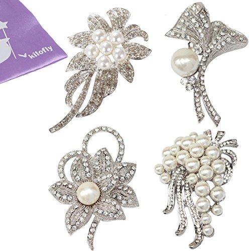 kilofly 4pc Faux Pearl Rhinestone Crystal Floral Pendant Brooch Pin + Gift (Crystal Faux Brooch)