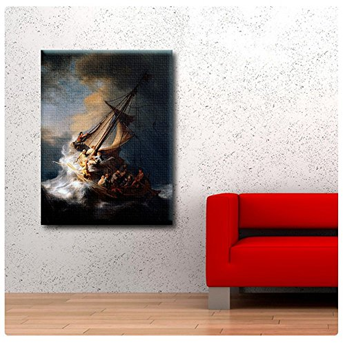 (Alonline Art - Christ In The Storm Sea Of Galilee by Rembrandt | print on high quality fine art photo paper poster (Rolled) | 24