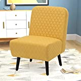 Armless Accent Chair Modern Muted Fabric Stylish Chair Living Room with Solid Wood Legs (Yellow)