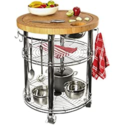 "Seville Classics Rolling Solid-Bamboo Butcher Block Top Kitchen Island Cart with Storage, 30"" Diameter x 36"" H"