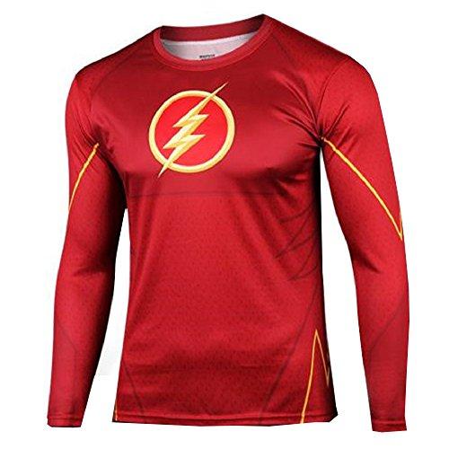 16029 - Jersey T-Shirt Sports Lange Mit Hulse Mitteilung FÜR Mann Körpergröße Wahl Flash (Xxxl)