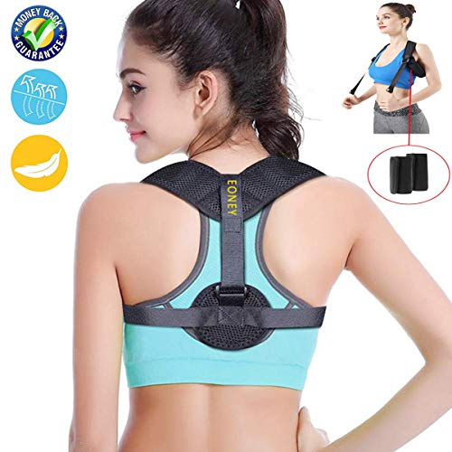 Eoney Posture Corrector for Women & Men Under Clothes Effective and Adjustable Shoulder Belt for Slouching & Hunching Upper Back Brace (FDA Approved)