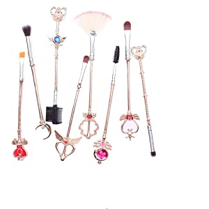LWHao8pcs Sailor Moon Gold Makeup Brush Set With Pink Pouch,Magical Girl Cute Cosmetic Makeup Brushes For Eyebrow Face Powder Foundation Blending Blush Concealer