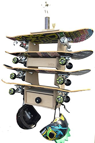 Sk8Rak 4 Board Skateboard Rack - Beautifully Designed and Crafted in the USA - 3,4, and 6-Board Racks for Regular and Longboards - Wall-Mounted or Free-Standing (Diego Outdoor Wood Furniture San)