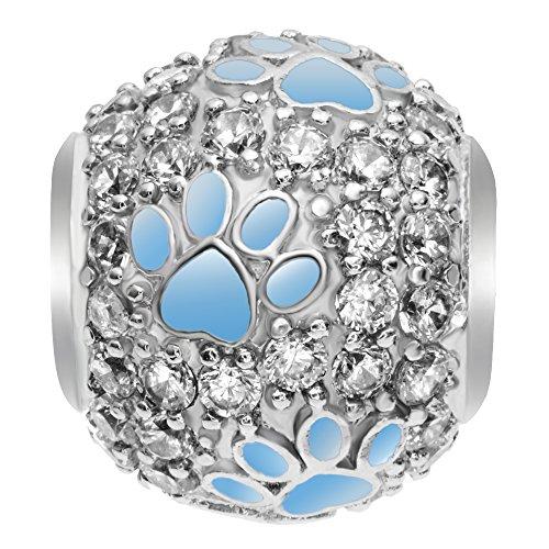Rhodium On 925 Sterling Silver Cubic Zirconia Blue Puppy Dog Paw Footprint European Style Bead Charm