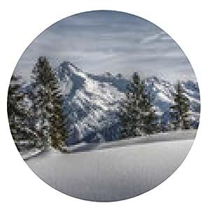 alfombrilla de ratón Campo de nieve y de montaña picos en HDR - ronda - 20cm