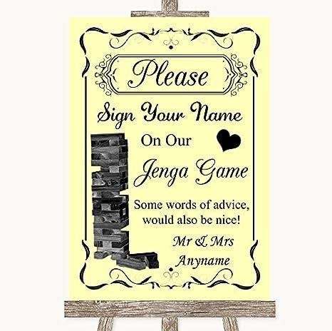 Letrero de boda amarillo Jenga libro de invitados cartel de boda, color amarillo A4 - MEDIUM: Amazon.es: Oficina y papelería