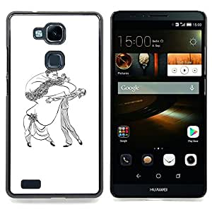 - Dance Caricature Man Woman Big Drawing Art - - Snap-On Rugged Hard Cover Case Funny HouseFOR HUAWEI Ascend Mate 7