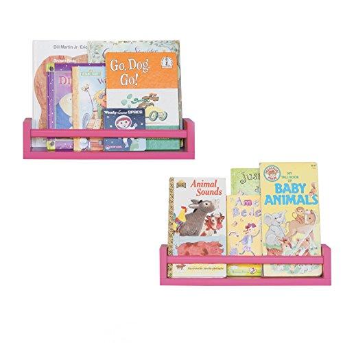 Set of 2 Pink Multi-purpose Wood Shelf Nursery Room, Kitchen Spice Rack, Bathroom Shelf