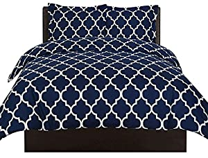 Utopia Bedding Printed Duvet-Cover-Set - Brushed Velvety Microfiber - Luxurious, Comfortable, Breathable, Soft & Extremely Durable - Wrinkle, Fade & Stain Resistant - Hotel Quality By (Queen,Navy)