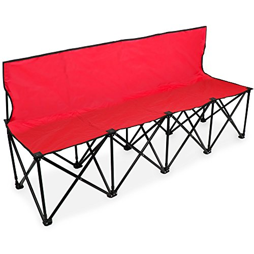 (Crown Sporting Goods 6-Foot Portable Folding 4 Seat Bench with Seat Backs & Carry Bag – Great Team Bench for Soccer & Football Sidelines, Tailgating, Camping & Events)