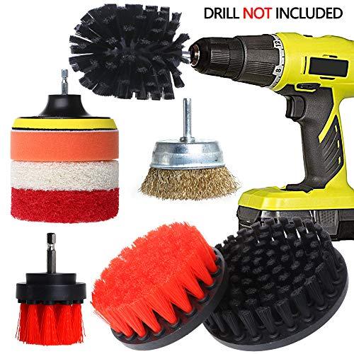 Drill Brush Attachment Set, QUIENKITCH 9PCS/Set Drill Brush Power Scrubber Attachments with Drill Scrub Pads & Ultra Stiff Cone Brush for Grout,Tiles,Sinks,Bathtub,Bathroom,Shower,Auto,Carpet,Grill