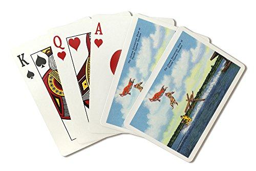 Cypress Garden Bridge - Cypress Gardens, Florida - View of Clowns Waterskiing (Playing Card Deck - 52 Card Poker Size with Jokers)