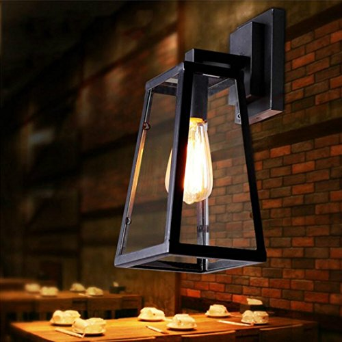 Wall Lights Antique outdoor balcony creative wall lamp industrial wind series glass box technology antique wall (Industrial Series Box)