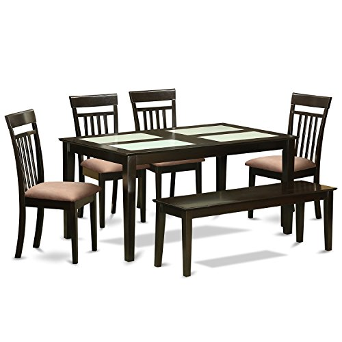 East West Furniture CAP6G-CAP-C 6 Piece Table 4 Dining Room Chairs and A Bench Kitchen Set