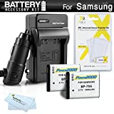 2 Pack Battery And Charger Kit For Samsung WB50F, WB35F, ST150F, DV150F, EC-PL120, MV800 MultiView, WB30F, ST76 Digital Camera Includes 2 Replacement (1000Mah) BP-70A Batteries + Ac/Dc Charger +