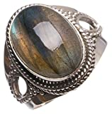 StarGems(tm) Natural Top Quality Blue Fire Labradorite Handmade Vintage 925 Sterling Silver Ring, US size 6.25