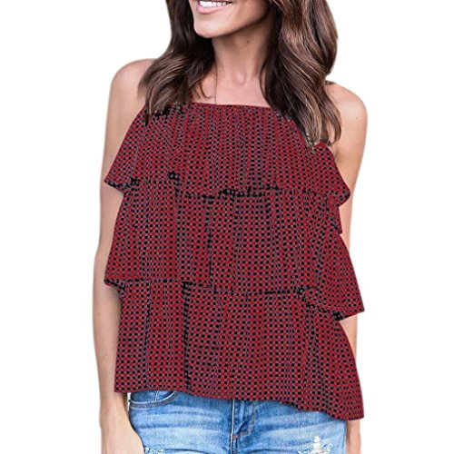 Womens Tops, DRACLE Sleeveless Loose Chiffon Camis Blouse Sling Print Plaid Stylish 2018 (Red, - Ringer Hood