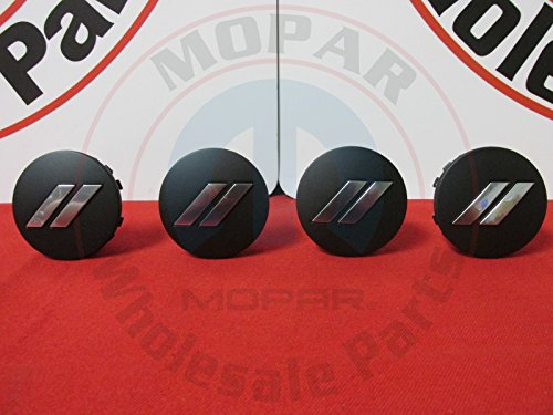 Matte Stripe (DODGE CHALLENGER CHARGER Matte Black Chrome Stripe Wheel Center Cap Set Of 4 OEM)