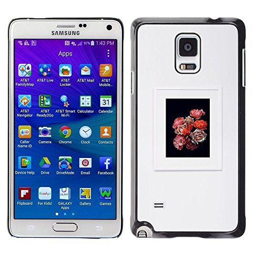 Plastic Shell Protective Case Cover    Samsung Galaxy Note 4 SM-N910    Bouquet Black Grey Frame @XPTECH (Bouquets Trendy)