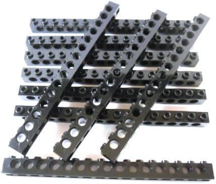 LEGO TECHNIC 10 Stück Stein 1x16 Noppen mit Löcher in Schwarz.