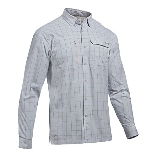 Under Armour Men's Fish Hunter Plaid Long Sleeve Shirt, Glacier Gray (001)/Steel, Small