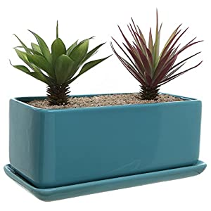 10 inch Rectangular Modern Minimalist Turquoise Ceramic Succulent Planter Pot/Window Box with Saucer