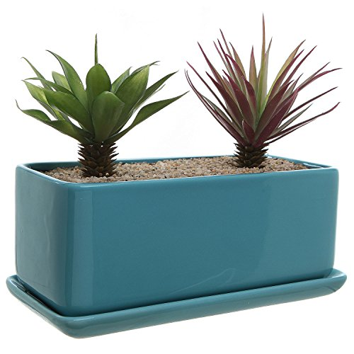 10 inch Rectangular Modern Minimalist Turquoise Ceramic Succulent Planter Pot/Window Box with Saucer (Best Window Box Flowers Shade)