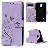Galaxy Note 4 Case- MOLLYCOOCLE [Natural Luxury Purple]Stand Wallet Purse Credit Card ID Holders Design Flip Folio TPU Soft Bumper PU Leather Ultra Slim Fit Skin Cover for Samsung Galaxy Note 4