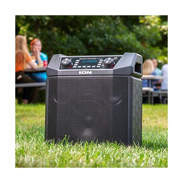 ION Audio - Block Rocker Plus - Enceinte Bluetooth Portable 100 W, Batterie, Radio AM / FM, Entrée AUX, Roulettes et Poignée Télescopique, Microphone, Câble et Port USB pour Smartphones et Tablettes 3