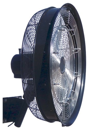 HydroMist F10-01-006 24'' Shrouded Oscillating Misting Fan with Corded 3 Speed Control, Black, 8 Nozzles-1000 psi pump required