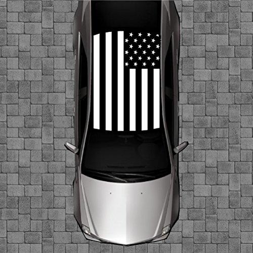 R54 BLACK AMERICAN FLAG Roof Wrap - Decal Decals Wraps Vinyl Wraps Art Poster Image Carbon Hood Car Truck Fiber Hood
