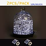 MYSUNSHINE Pack of 2Sets 10ft LED Starry String Lights Battery Operated 30 Micro Starry LEDs on a Flexible Silver Wire-Cool white LED String Lights (Not Include 3AA Battery)(Cool white, 2*10ft/30LEDs)