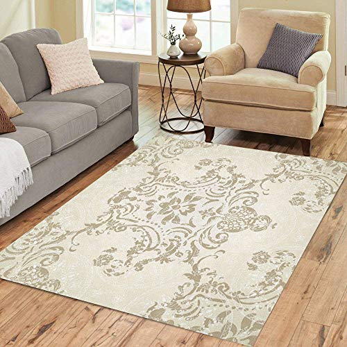 Pinbeam Area Rug Silver Victorian Damask Floral Pattern Rococo Antique Baroque Home Decor Floor Rug 3' x 5' Carpet ()