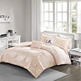Intelligent Design Zoey Comforter Reversible Triangle Metallic Printed 100% Brushed Ultra-Soft Overfilled Down Alternative Hypoallergenic All Season Bedding-Set, Twin/Twin XL, Blush/Rosegold