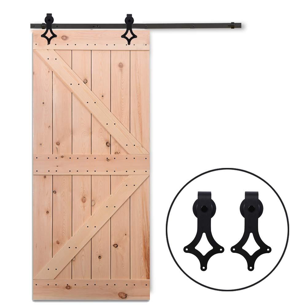 Nero 8FT//243cm Antico Binario Scorrevole Fienile Porta Ferramenta Porta Scorrevole Legno Kit per Una Porta