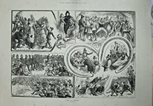 Old Original Antique Victorian Print 1881 Derby Day Sport Post Office Frith People Betting 185Tn707
