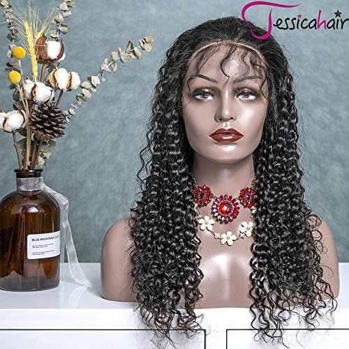 Jessica Hair 360 Lace Frontal Human Hair Wig 180% Density Curly Hair Brazilian Remy Hair Wigs Natural Black For Women Wet Wavy Glueless Top Lace Wigs Pre Plucked With Baby Hair 20inch with 180%density