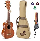 Hola! Music HM-121MG+ Deluxe Mahogany Soprano Ukulele Bundle with Aquila Strings, Padded Gig Bag, Strap and Picks, Natural